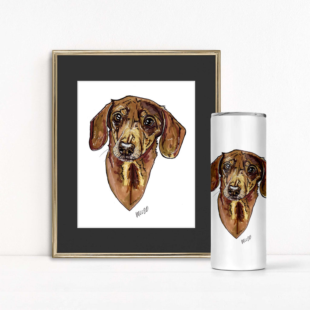 Animal Ink Co. - Custom Pet Portrait with Matching Tumbler