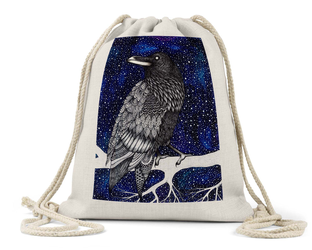 "Savvy Art ""Space Raven (Colored Version)"" - Linen Drawstring Bag"