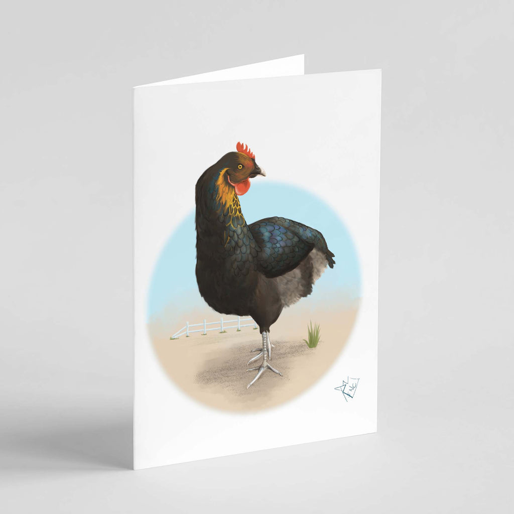 RencArt - Rooster - Animal Studies Series - Greeting Card