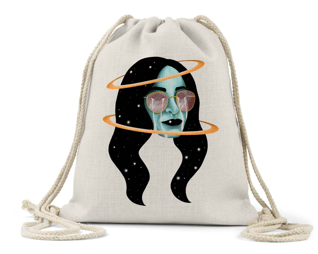 "Zoinkd Art ""Rose-tinted Universe"" - Linen Drawstring Bag"
