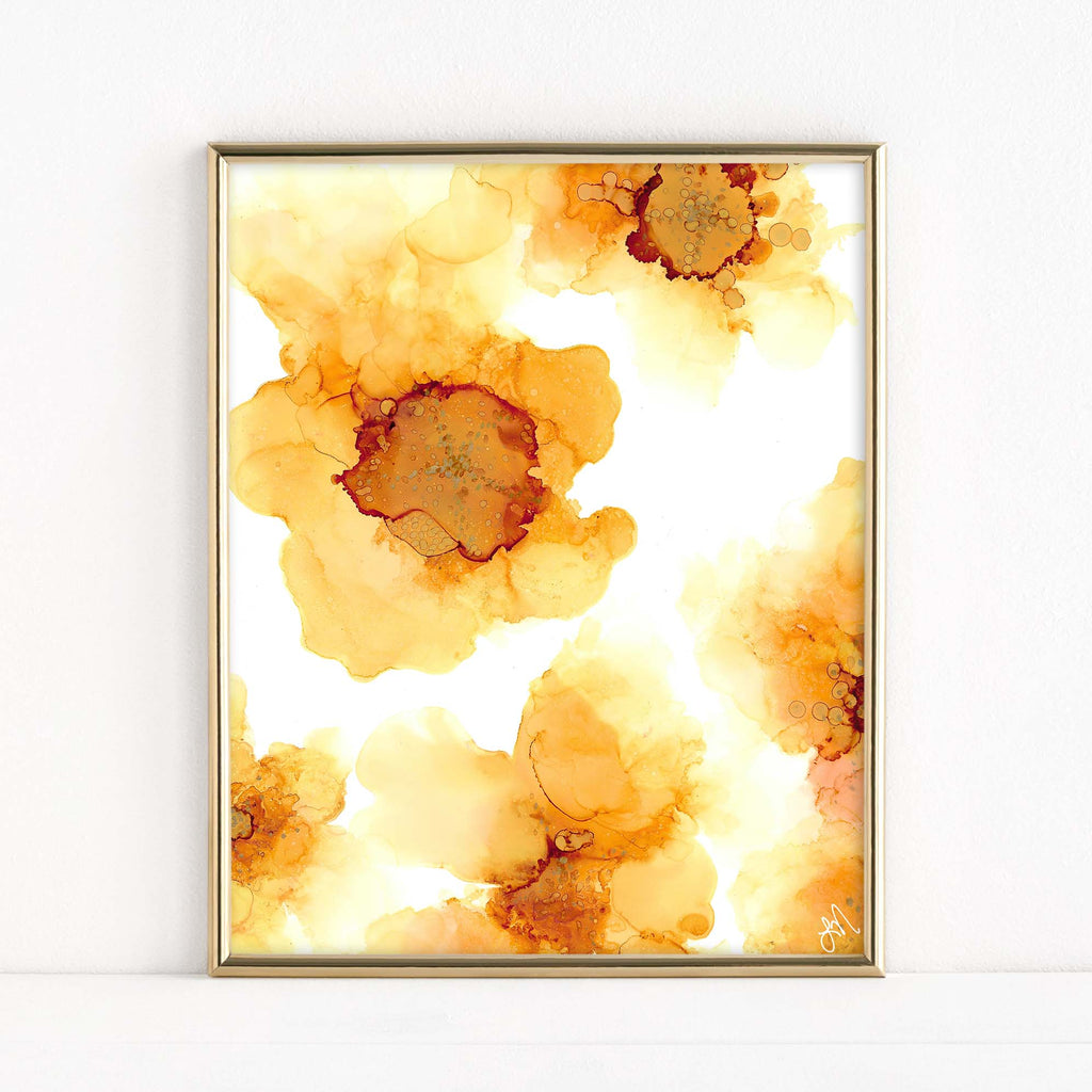 "LMN Designs ""Sunflower"" Alcohol Ink - Luster Art Print"