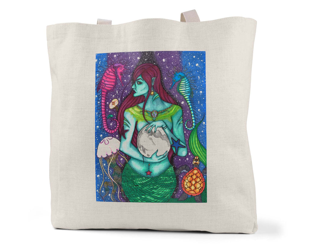 "Savvy Art - ""The Protector, Version 2"" Linen Shopping/Tote Bag"
