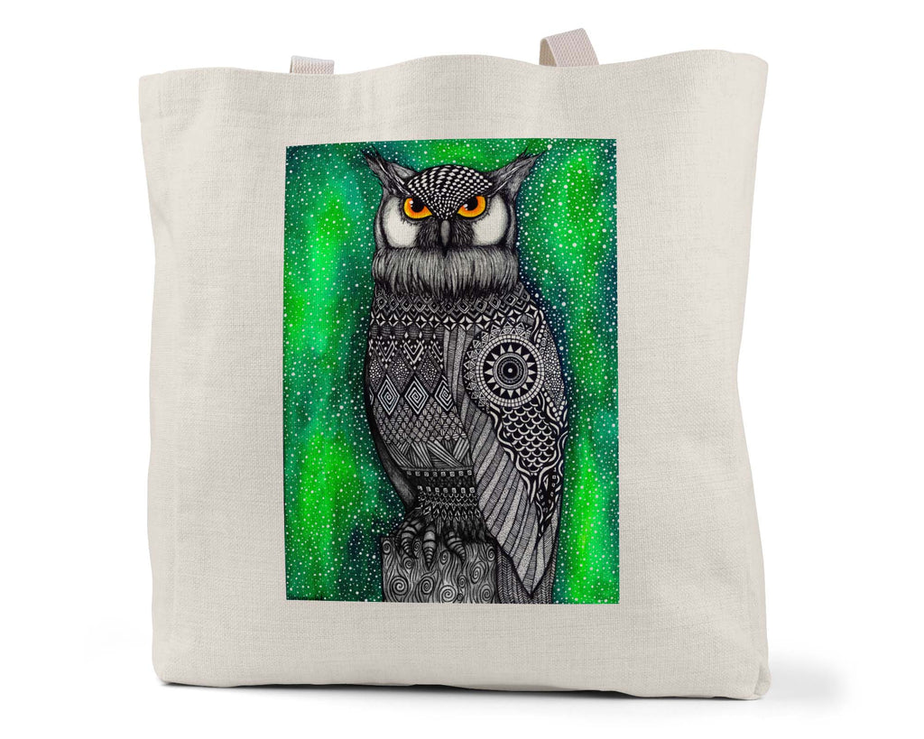 "Savvy Art ""The Watcher (Colored Version)"" - Linen Shopping/Tote Bag (Multiple styles available!)"