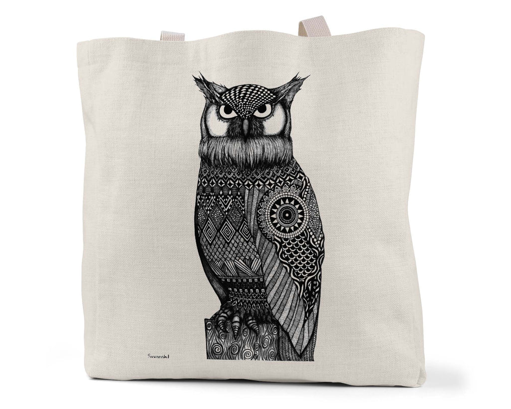 "Savvy Art ""The Watcher (Black and White Version)"" - Linen Shopping/Tote Bag (Multiple styles available!)"