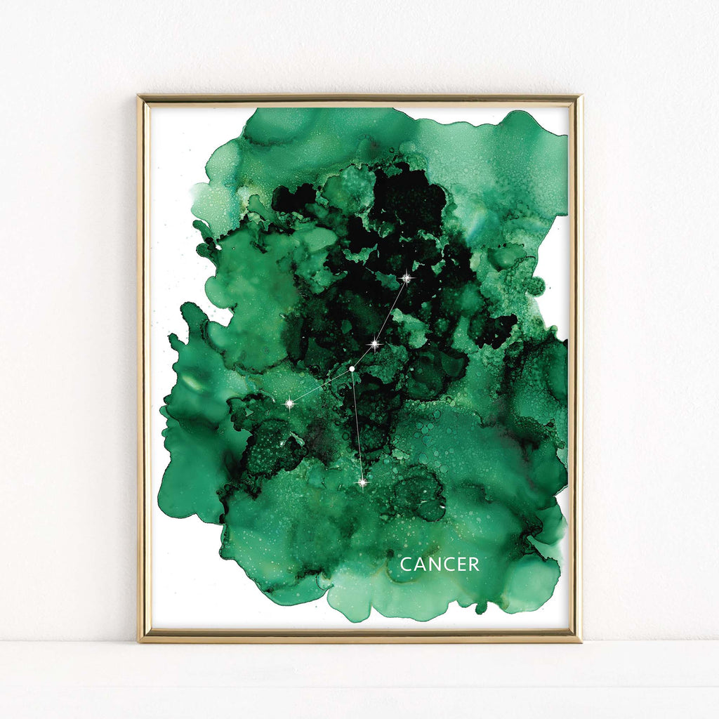 "LMN Designs ""Cancer"" Alcohol Ink Zodiac Constellations - Luster Art Print"