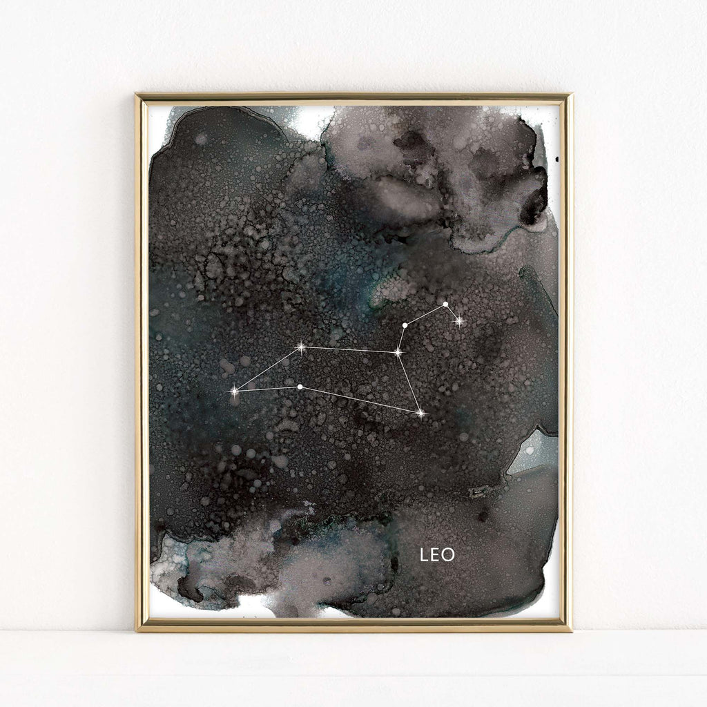 "LMN Designs ""Leo"" Alcohol Ink Zodiac Constellations - Luster Art Print"