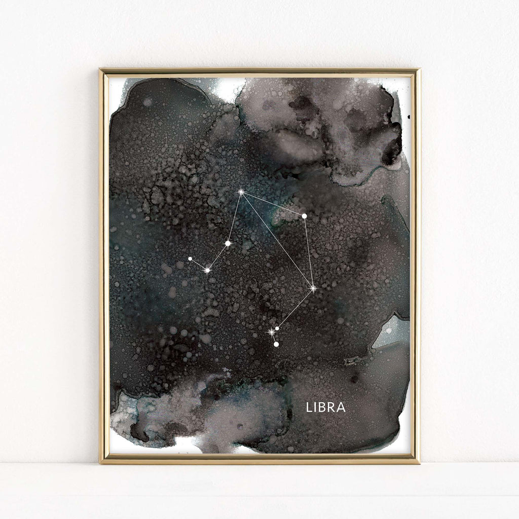 "LMN Designs ""Libra"" Alcohol Ink Zodiac Constellations - Luster Art Print"
