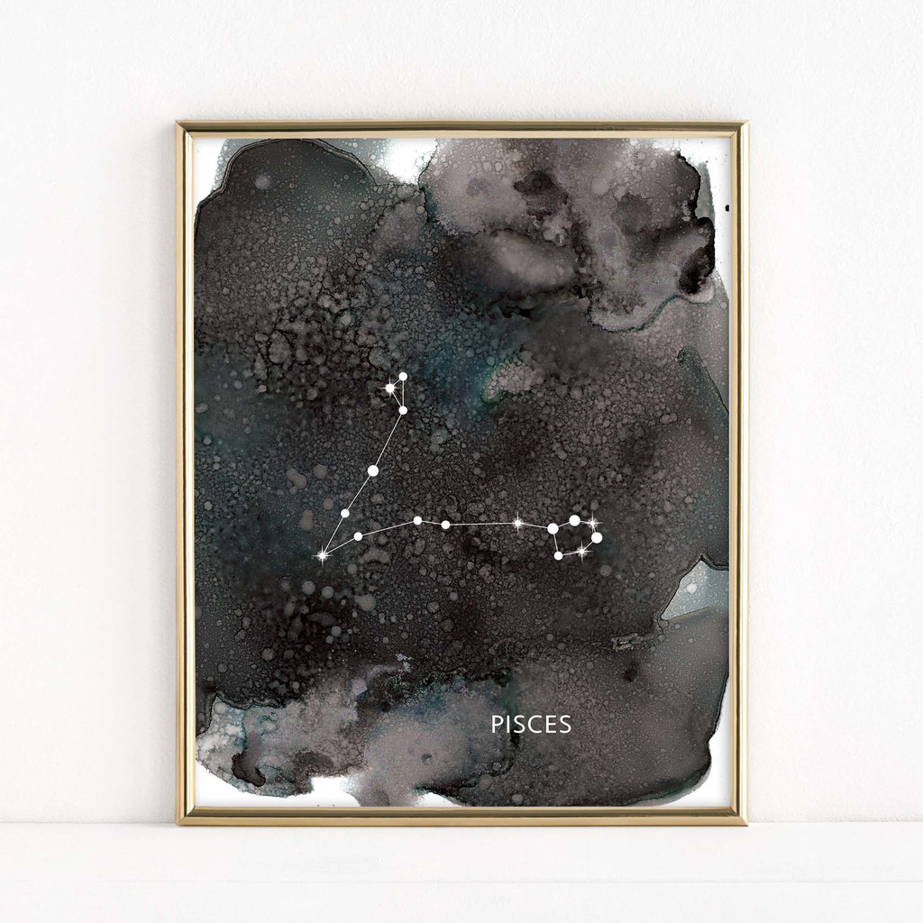 "LMN Designs ""Pisces"" Alcohol Ink Zodiac Constellations - Luster Art Print"