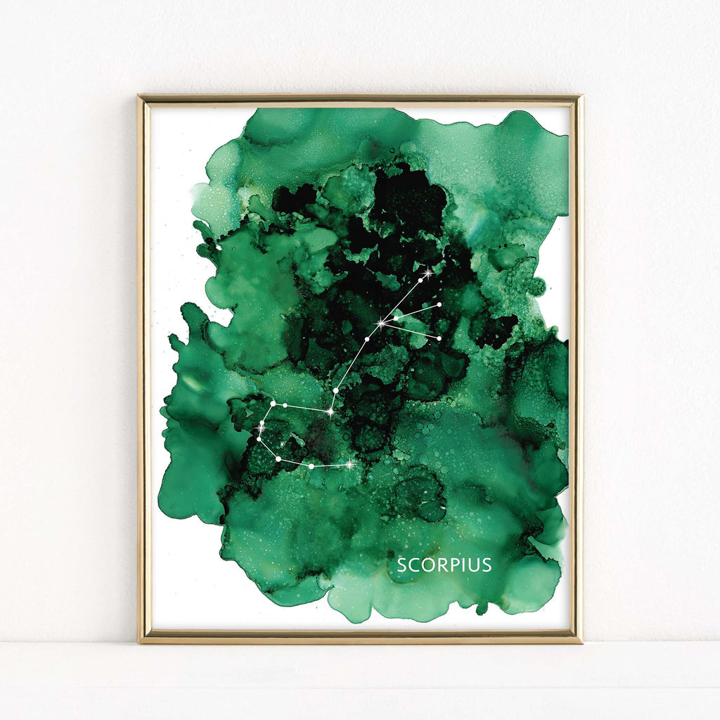 "LMN Designs ""Scorpius"" Alcohol Ink Zodiac Constellations - Luster Art Print"