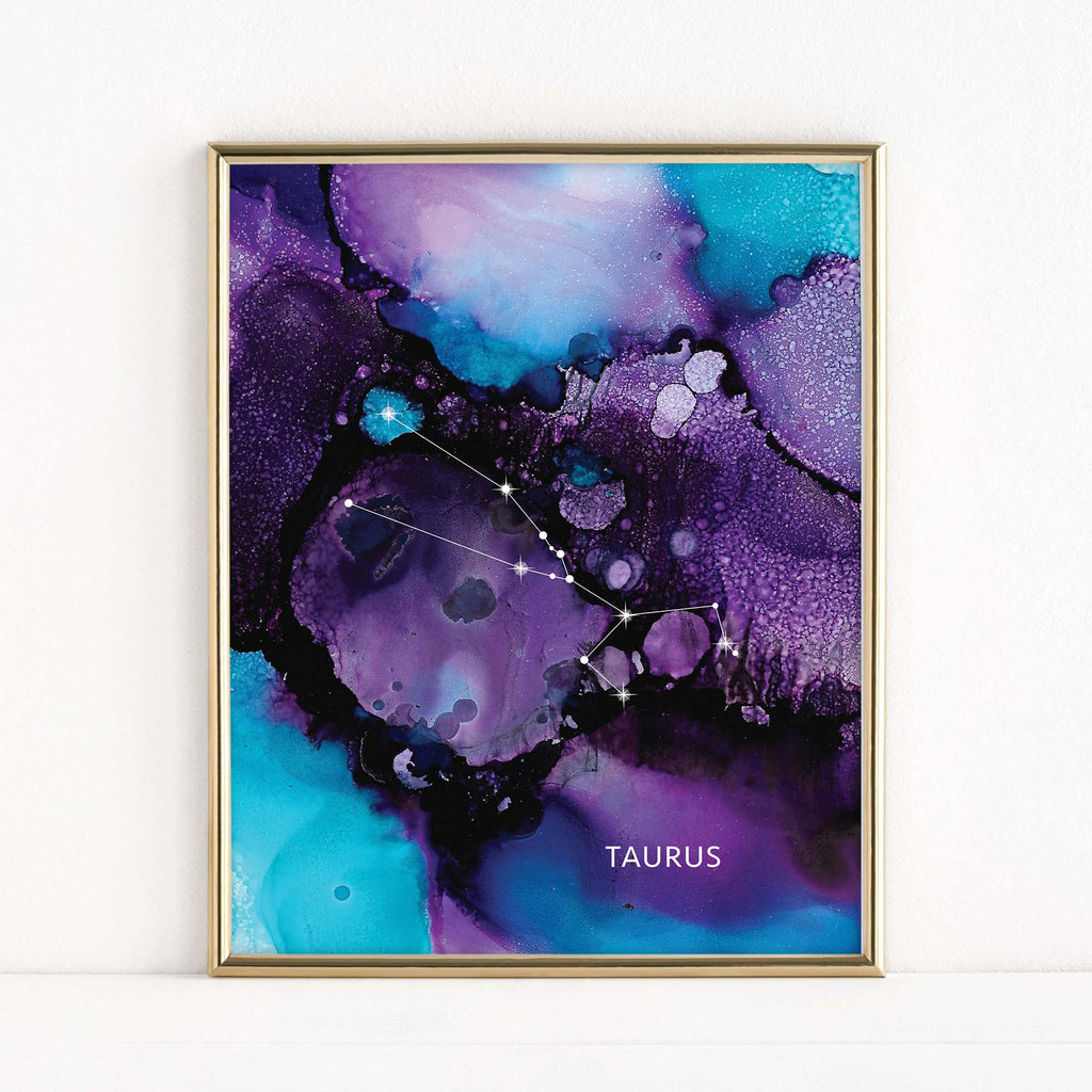 "LMN Designs - ""Taurus"" Alcohol Ink Zodiac Constellations - Luster Art Print"