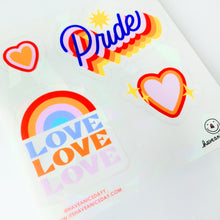 Load image into Gallery viewer, Pride Suncatcher Sheet (4 Stickers)
