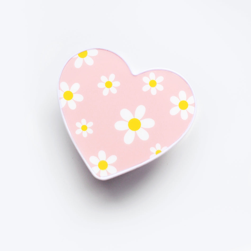 Daisy Heart Phone Grip Pink
