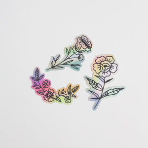 Floral Holographic Sticker Set