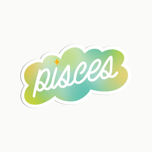 Gradient Pisces Clear Die Cut Sticker
