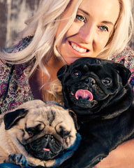 Jane with her pugs