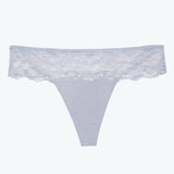 The Josie Thong in Silver Magnolia Lace
