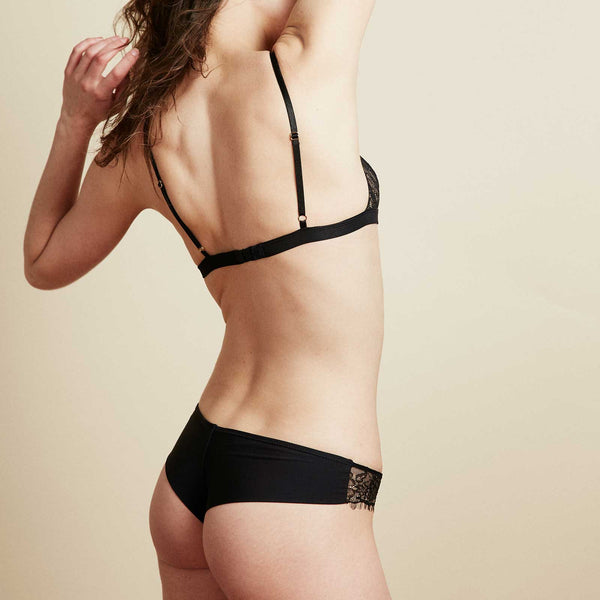The Bangle Bikini in Jet Black Eyelash Lace