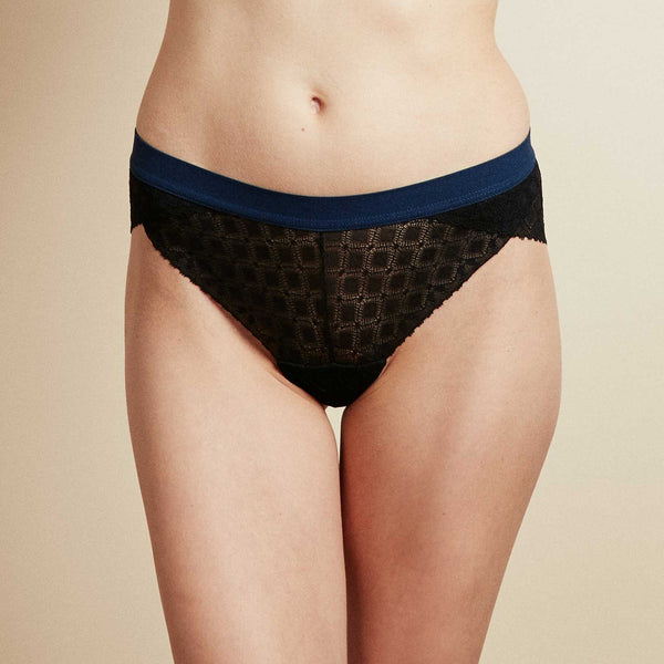 The Supreme Panty in Black & Navy Lattice Lace