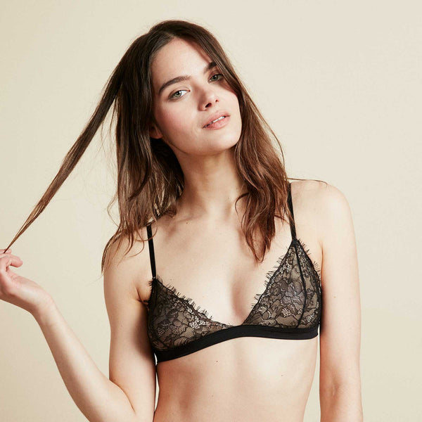 The Shangri-La Bra in Jet Black Eyelash Lace