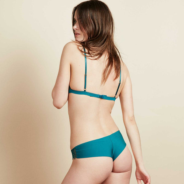 The Bangle Bikini in Garden Green Eyelash Lace