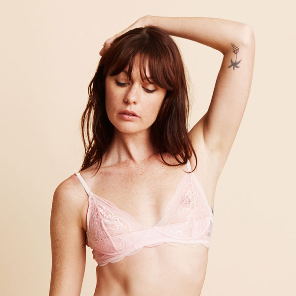 The GoGo Bra in Powder Pink Scallop Lace