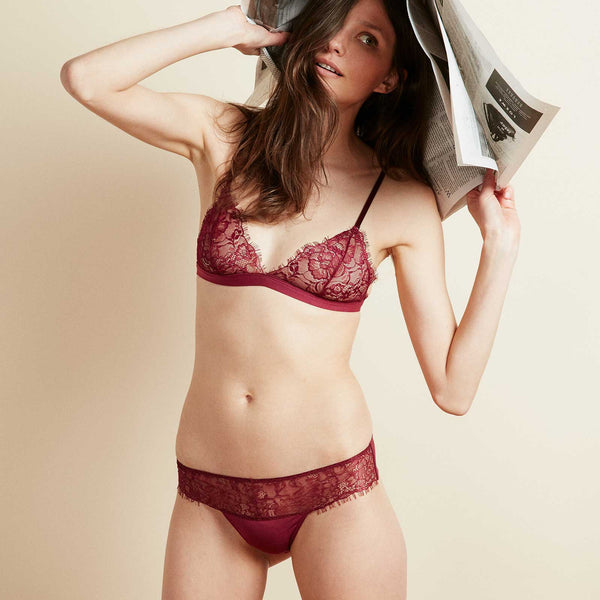 The Bangle Bikini in Cranberry Red Eyelash Lace