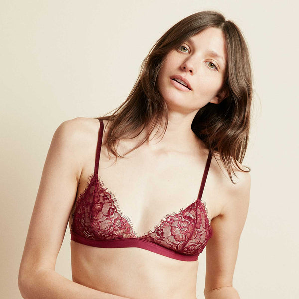 The Shangri-La Bra in Cranberry Red Eyelash Lace