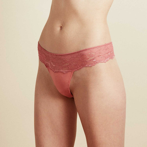The Josie Thong In Terracotta Magnolia Lace