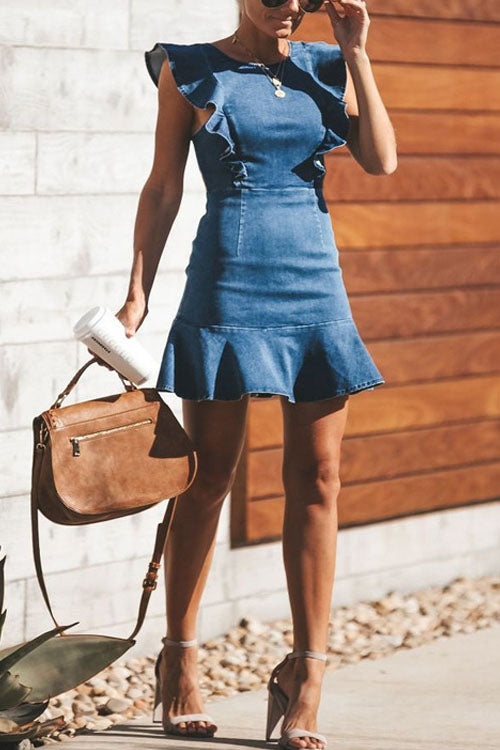 MR O Neck Flouncing Denim Dress
