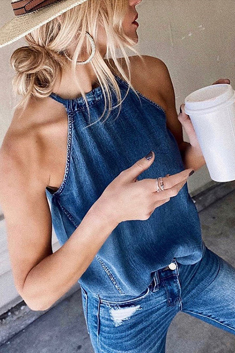 Meridress Halter Neck Denim Tank Top
