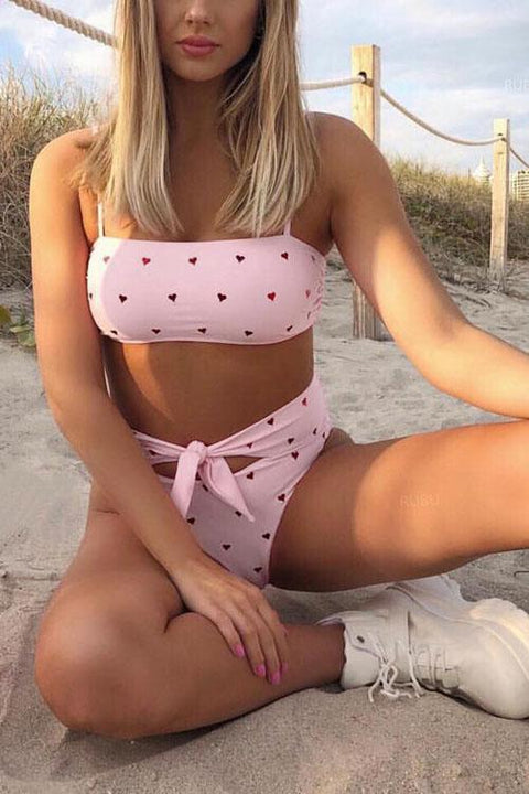 Meridress Heart Printed Tie Waist Two Pieces Swimsuit