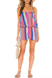 Meridress Rainbow Striped Off Shoulder Romper
