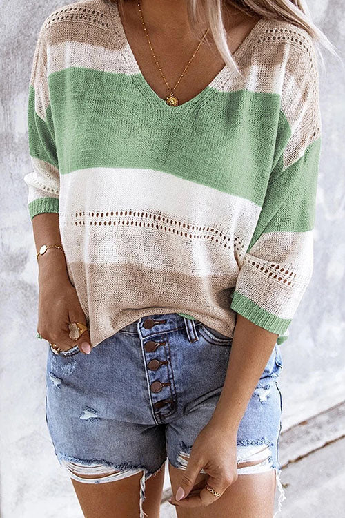Meridress V Neck Striped Color Block Hollow Out Pullover Sweater