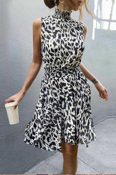 Meridress Leopard Sleeveless Elastic Waist Dress