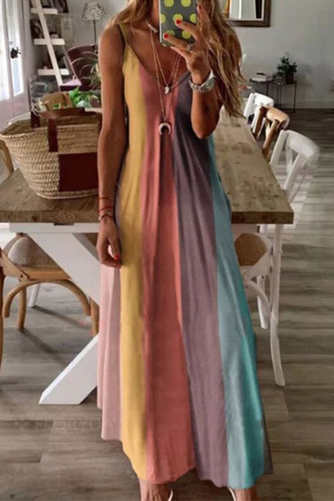 Meridress Rainbow Stripe V Neck Sleeveless Maxi Dress