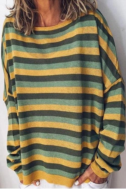 Meridress Fall Striped Loose Fit Sweatshirt