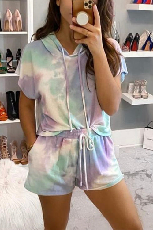 Meridress Tie Dye Hooded Top Short Pants Outfits