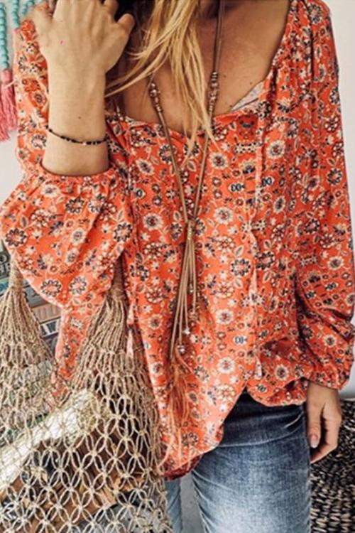 Meridress V Neck Floral Prined Loose Fit Tops