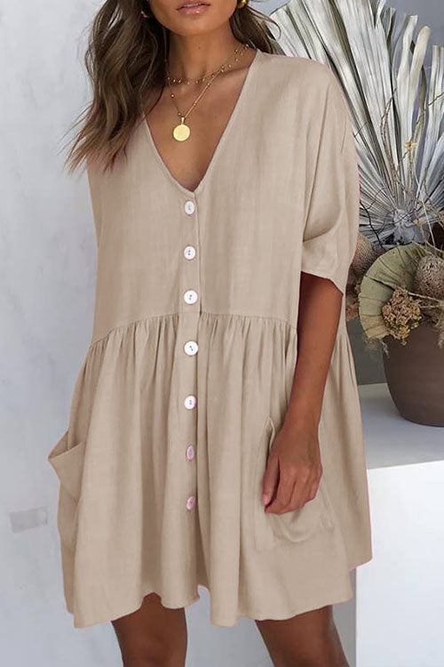 Meridress V Neck Button Down Swing Dress with Pockets