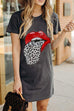 Meridress Funny Red Lip Leopard Tongue T-Shirt Dress(3 Colors)