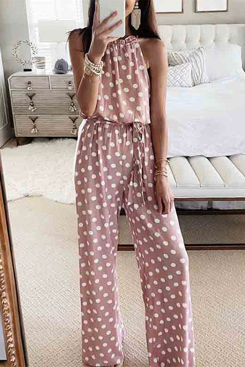Meridress Polka dot Halter Neck Sleeveless Long Jumpsuit