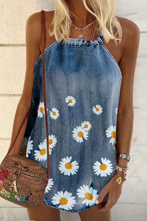 Meridress Daisy Halter Denim Tank Top