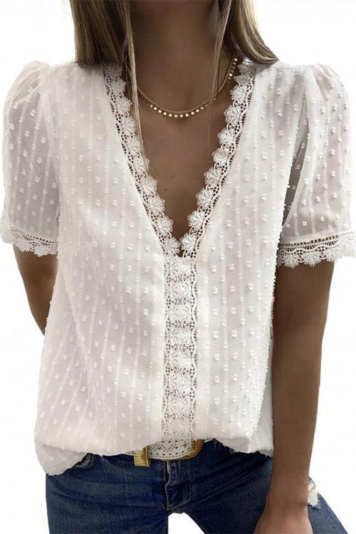 Meridress Loretta V Neck Short Sleeve Lace Top