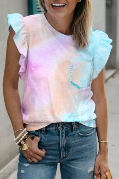 Meridress Scallop Sleeve Pocket Tie Dye Top