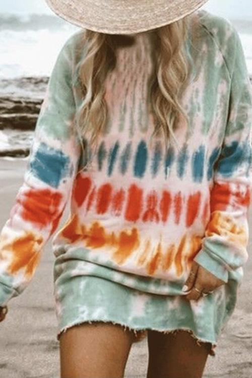Meridress Rainbow Tie Dye Loose Sweatshirt Dress