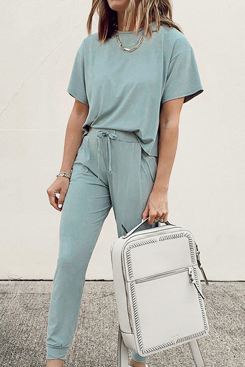 Meridress Short Sleeve Long Pants Plain 2 pieces Set