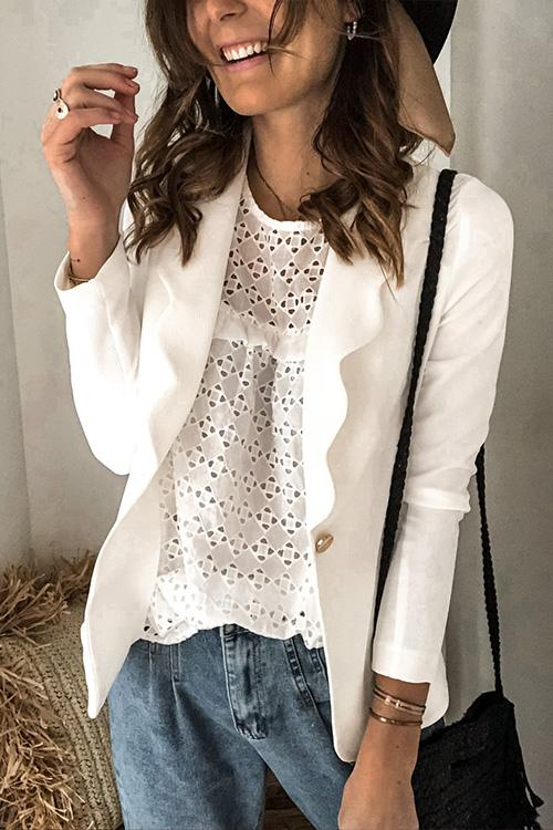 Meridress Lapel One Button Solid Blazer Jacket