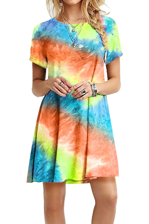 Meridress Rainbow Gradient Tie Dye Dress