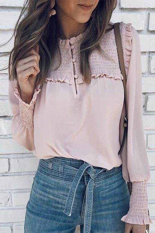 Meridress Elegant Frill Smocked Ruffle Blouse Top