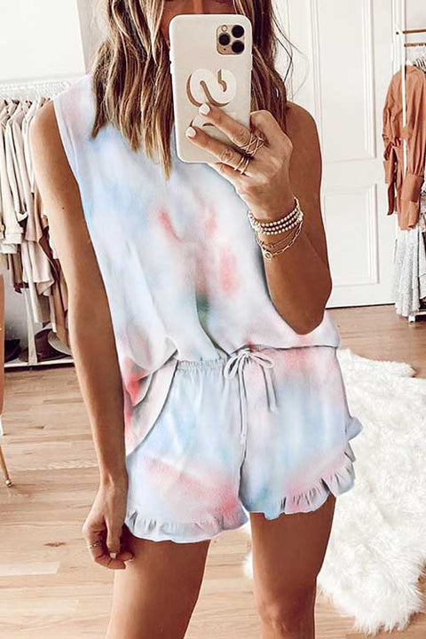 Meridress Tie Dye Drawstring Waist Two Pieces Set
